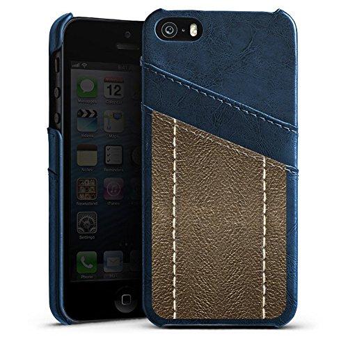 Apple iPhone 5s Housse étui coque protection Cuir marron Look Structure en cuir Étui en cuir bleu marine