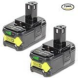 jolege P108 RB18L50 Li-ion Battery for Ryobi 18V One+ P108 P107 P106 P105 P104 P103 P102 P100 BPL-1815 BPL-1820G BPL18151 BPL1820 Compact Cordless Drill (Pack of 2)