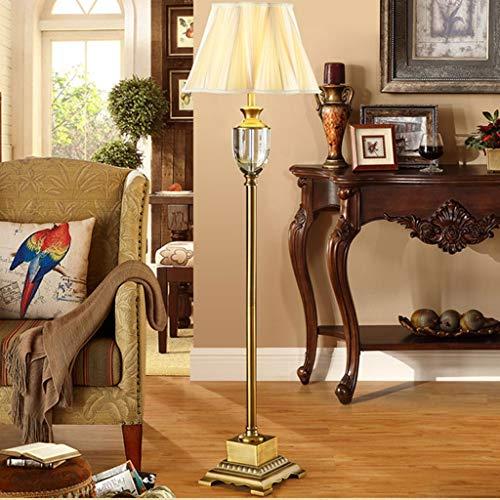 Lampadaires- Lampadaire en cristal de luxe européen Villa salon salle d'étude Creative Creative abat-jour lampe de table verticale