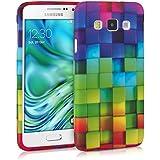 kwmobile Hülle für Samsung Galaxy A3 (2015) - TPU Silikon Backcover Case Handy Schutzhülle - Cover Regenbogen Würfel Design Mehrfarbig Grün Blau