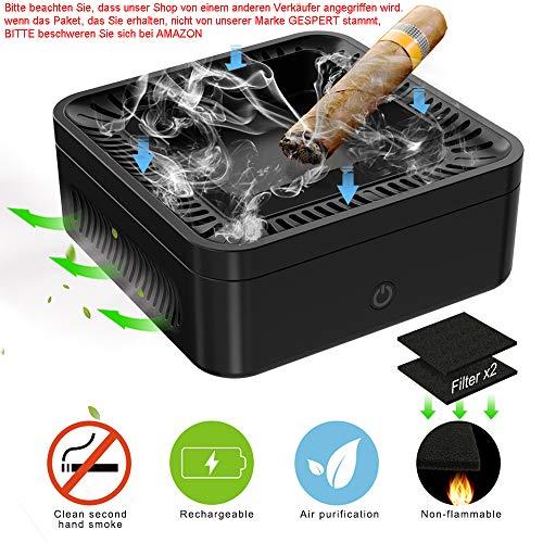 Elektrisch Aschenbecher,Luftreiniger,Deodorant für Zigaretten,mit 99.97{454b71eca83ffd605268008dafc3f357c5708a25e11bfe33c300758cd1cc1256} HEPA Filter,2 Windgeschwindigkeiten und wiederaufladbar,Schreibtisch vor Rauchasche schützen,Halten Büro und Zuhause rauchfrei