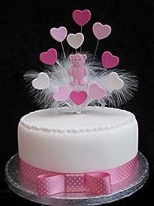 Karen's Cake Toppers Décoration de gâteau Teddy Rose avec cœurs et Plumes de Marabou Idéal pour Baby Shower, baptême, un anniversaire, etc pour gâteau de 20 cm