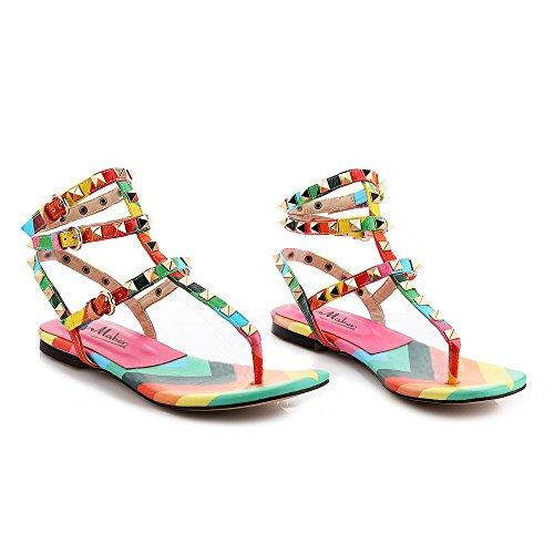 Damen Zehentrenner Regenbogen Flach Schuhe T-Spange mit Nietendecoration (41, Orange)