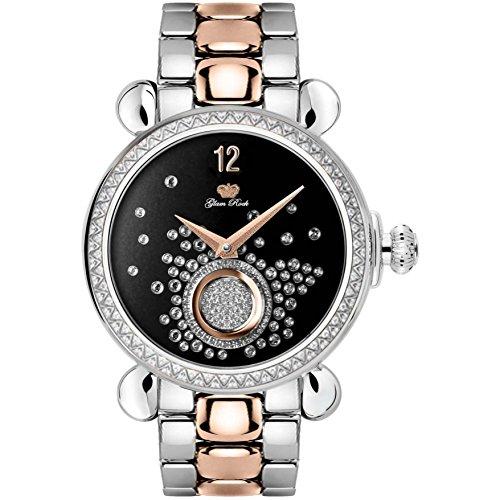 Glam Rock Women's Vintage 40mm Two Tone Steel Bracelet Steel Case Swiss Quartz Black Dial Watch GR28069DS