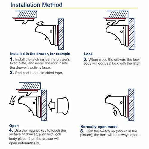 CALISH Child Safety Cupboard Locks Set 10 Locks+2 Keys Magnetic locks No Drilling Magnetic Adhesive Lock for Drawers, Cabinet (White)