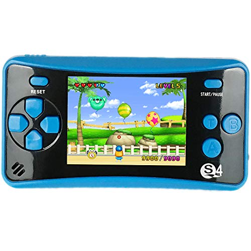 QINGSHE QS-4 Handheld Game Console for Kids,Portable Arcade Entertainment Gaming System Retro FC Video Game Player 2.5 LCD Built-in 182 Classic Games,Birthday Present for Children(Blue)