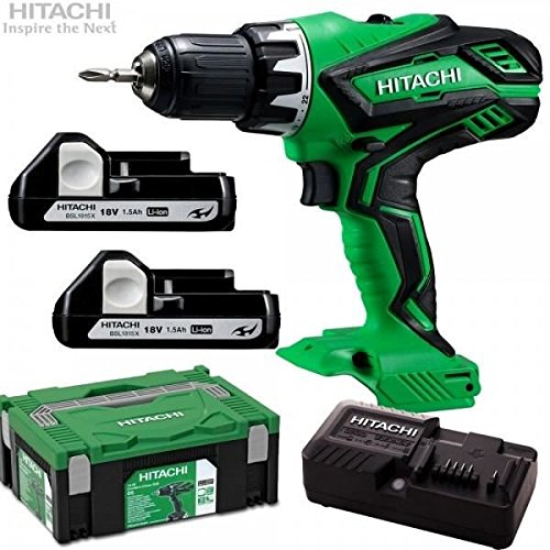 Hitachi ds18djl Perceuse-visseuse sans fil 18 V + 2 x 2,5 Ah batteries Li-ion + HSC II 2