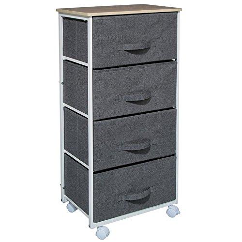 Meuble de rangement 4 tiroirs à roulettes - Design et Pratique - Coloris Chiné GRIS FONCE