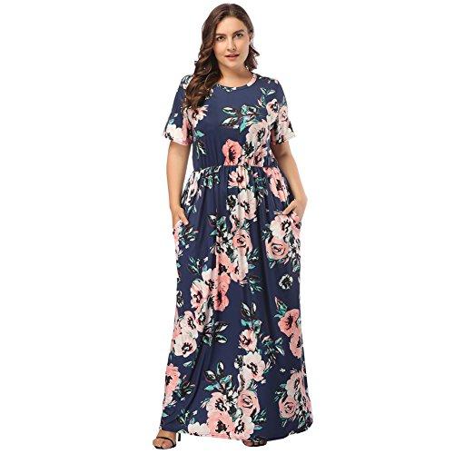 Lover-Beauty Damen Lange Kleid Kleider Sommerkleider Maxikleider Blumenkleid Blumedrucken Strandkleid Rundhals High Waist Kurzarm