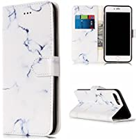 "Lomogo 5.5"" iPhone 7 Plus / iPhone 8 Plus Leather Wallet Case with Kickstand Card Holder Magnetic Closure Shockproof Flip Case Cover for iPhone 7 Plus / 8 Plus (5.5-inch) (White Marble)"