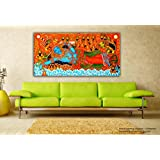 Tamatina Kerala Mural Canvas Paintings - Jai Sri Krishna - Vishnu Avatar - Padmanabhaswamy - Premium Export Quality - Traditional Canvas Paintings - Paintings For Living Room - Paintings For Bedroom - Mural Paintings For Wall