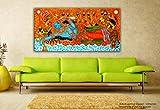 Tamatina Kerala peintures sur toile panoramique–Jai Sri Krishna–Vishnou Avatar–traditionnel peintures sur toile–1,5m. X 0,8m., Tissu, multicolore, Taille M...