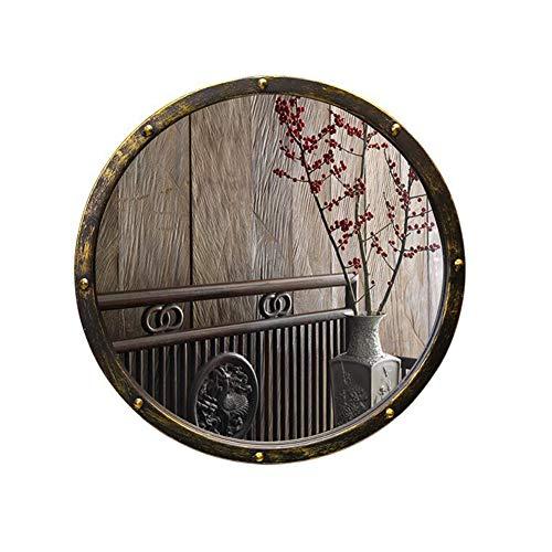 Espejo Redondo de Pared Vintage - Espejo de baño de Hierro - Espejo de tocador Industrial Antiguo...