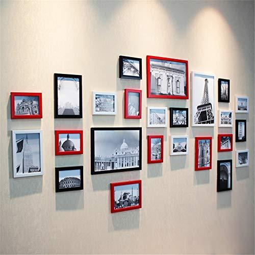 Lizp 24 Bilder Fotorahmen Wanddekoration Einfach Schwarz Weiß Bilderrahmen Wand Set Modern Blaues Mittelmeer Bilderrahmen Wand Rot Pink Fotorahmen Collage Für Zuhause Fotostudio Büro -