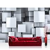 Vlies Fototapete 416x254cm PREMIUM PLUS Wand Foto Tapete Wand Bild Vliestapete - Illustrationen Tapete Vierecke 3D Muster Abstrakt Metalloptik grau - no. 2642