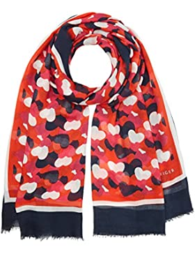 Tommy Hilfiger Damen Halstuch Allover Hearts Schal, Mehrfarbig (Oatmeal/Tommy Navy/Fiery Red/Bright Ro 901), One...