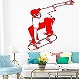 fancjj Drôle Skateboard Design Sticker Mural pour la Décoration Intérieure Salon Décoration Garçons Chambre Accessoires Décalque Murale Remvoable Décor 58x79 cm