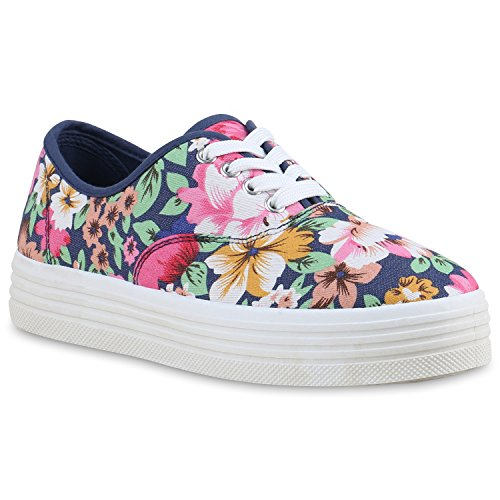 Damen Plateau Sneakers 90s Style Sportschuhe Freizeit Schuhe Dunkelblau Blumen