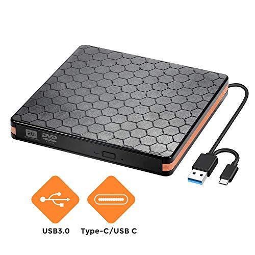 Externes CD/DVD Laufwerk Brenner USB 3.0 und Typ-C-Schnittstelle, Tragabar Brenner DVD-RW DVD/CD, Kompatibel mit Win10 /8/7/XP, Laptop, Mac/MacBook Air/Pro/iMac/PC (Rosa) (Rosa Laptop-computer Mit Dvd)
