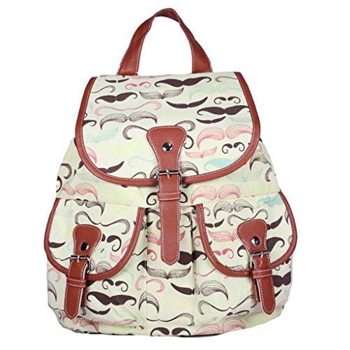 Sammua Blumen Blumensegeltuch Rucksack mit Kordelzug Lederschnallen Schultasche Schulter Daypack für Mädchen - D D