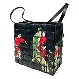 PERLETTI Bolso de Hombro para Mujer en Madera de Bamboo - Bolsa de Mano de Estilo Étnico - Hecha a Mano - Tamaño 20x20x8 cm - Cierre de Cremallera - Diseño Oriental Negro
