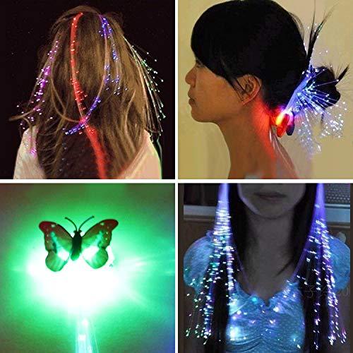 Bluelover 12 Stücke Neuheit LED Glänzende Haar Zöpfe Barrette Flash LED Faser Haarnadel Clip Leuchten Stirnband Dekorationen