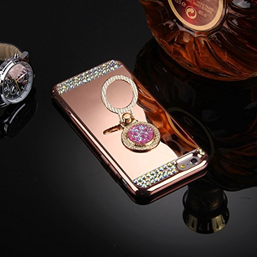GHC Cases & Covers, Für iPhone 6 & 6s Diamond verkrustete Galvanik Spiegel Schutzhülle Fall mit versteckten Ring Halter ( Color : Gold ) Rose gold