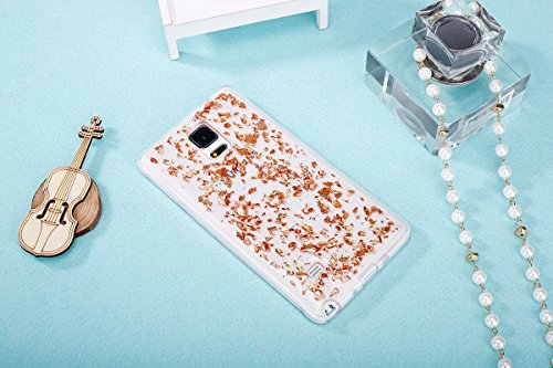 Samsung Note 4 Silicone Housse - Felfy Clair Ultra mince Slim Coque Pour Samsung Galaxy Note 4 papillon blanc Clear Crystal Gel Souple Soft Flexible TPU Silicone Etui Protective Bumper Cas Cover Trans Bling Champagne Or