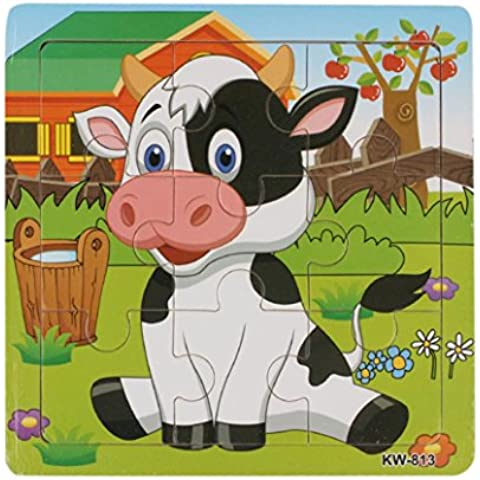Toraway Vaca lechera de madera rompecabezas juguetes educativos para niños aprendizaje animal Rompecabezas Juguetes