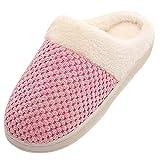 ZODOF Zapatos de Dormitorio Antideslizantes de Invierno para el hogar Zapatillas de Estar por Casa Hombre Mujer Invierno Pantuflas Zapatillas Peluche Algodón Suave Azul Marino