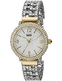 Burgi Mujer Tres reloj de cuarzo de mano con redonda de plata esfera analógica pantalla y pulsera de aleación multicolor bur140yg