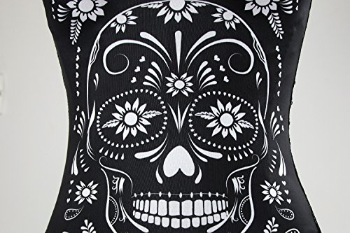 Charmian Women's Punk Skull Print Rock N Roll Fashion Boned Bustier Corset Top bianco Skull