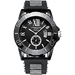 Anthony James Limited Edition Emperor Men's Sports Wrist Watch with Lifetime Warranty, Black Metal Casing, and Durable Rubber Wrist Band