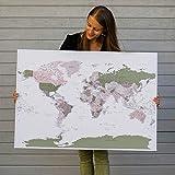 Carte du monde avec punaises - Deco murale avec 100 punaises inclus - Vert Violet - Decoration chambre à accrocher - 2 tailles disponibles