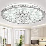 Moderne LED-Deckenleuchte Runde Wohnzimmer LED Kristall Deckenleuchten Minimalistische Atmosphäre Europäische Lobby Restaurant Kristall Deckenlampe Ø43cm * H17CM 4000K Natural Weiß