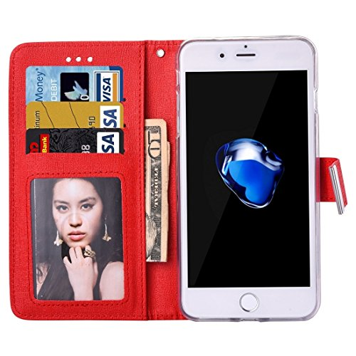 IPhone 7 Plus Fall Oracle Texture Separable Horizontale Flip Leder Tasche mit Card Slots & Wallet & Foto Frame & Lanyard für iPhone 7 Plus by diebelleu ( Color : White ) Red