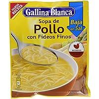 Gallina Blanca - Sopa de Pollo con Fideos Finos Bajo en Sal - 68g - [Pack de 24]