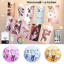 Bunt Foto Clips Lichterkette für Zimmer, USB & Batterie 2M 20 LED Lichterkette mit 20 Klammern für Fotos mit Fernbedienung, 10 Farben Lichterkette Bilderrahmen für Wohnung, Haus, Thanksgiving, Party