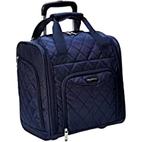 AmazonBasics Underseat Trolley Luggage, Navy Blue Quilted