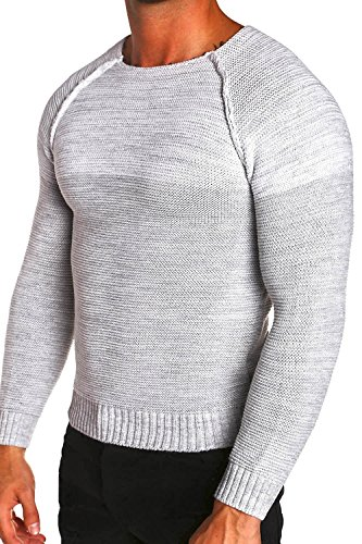 MT Styles Pullover Colour-Block Strickpullover F-7359 Weiß