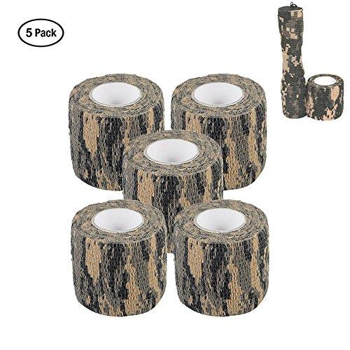 Tarnungs Band Selbstklebend 5CM x 4.5M Taktisches Band Schutzband Tarnungszubehör Dekor Stretch Bandage für Jagd, Vlies Stoff, Langlebig und Wiederverwendbar (5 Pack) (ACU)