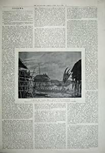 Bateaux 1899 d'Indigènes de Lakatoi de Village de Pile de Papuan