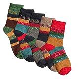 YSense 5 Paar Wollsocken – Baumwollsocken – Stricksocken | Vintage Stil | Warme Crew Socken für Herbst & Winter (Mixed Colors 4-5 pack)
