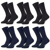 Piarini Bambus - 6 pares de calcetines sin elástico - Negro y azul ma..
