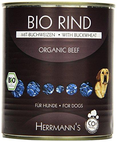 Herrmanns Bio Hundefutter Rind Menu 1 mit Buchweizen, Apfel, Birne 800 g, 6er Pack (6 x 800 g)