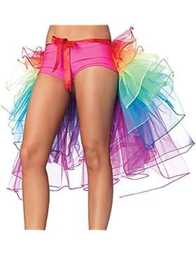 Qiao Nai(TM) Mujeres Fantasía Acodado Tutú de Baile Arco Iris Multicolor Falda de Cola Larga Minifalda Burbuja