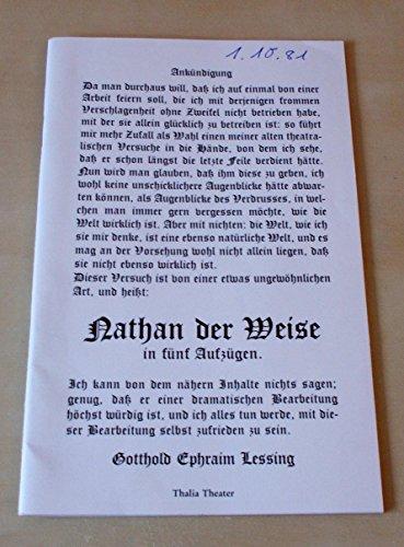Programmheft NATHAN DER WEISE. Premiere 26. September 1981. Spielzeit 1981 / (Der Groll Kostüme)