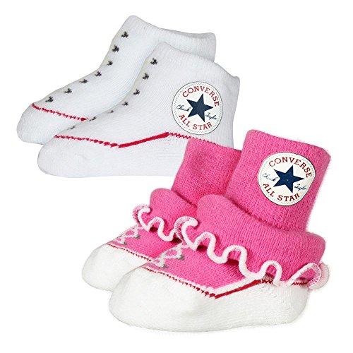 Converse Baby 2-er Socken Geschenk-Set Rüschen Frilly Chuck Infant Booties Paper Pink (weiß pink)