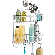 mDesign – Organizador de ducha para colgar – Práctico estante para ducha de acero inoxidable – Cesta de ducha sin taladro para tus productos de higiene personal (botes de champú, cuchillas, etc).