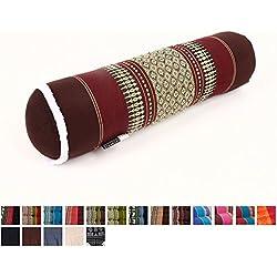 Cojín Bolster para Yoga, 55x15x15 cm, Capok, Marrón Rojo